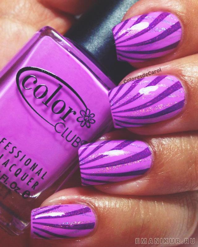 Малиновый и фиолетовый маникюр
