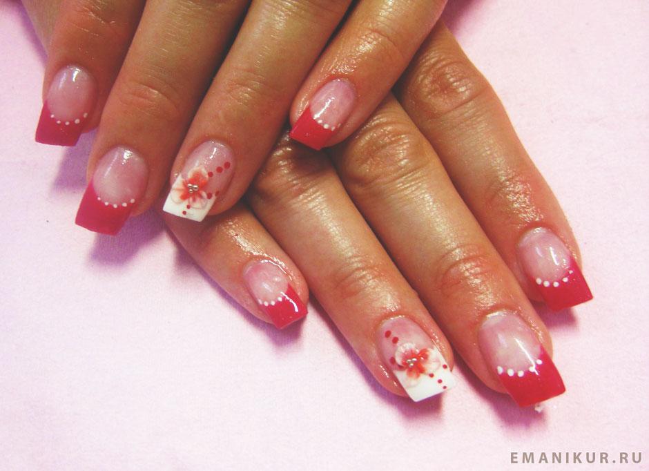 Дизайн ногтей красный с белым френчем