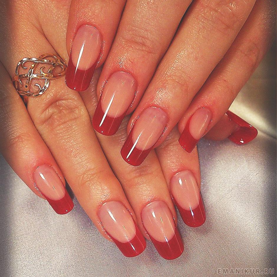 Красные кончики ногтей фото
