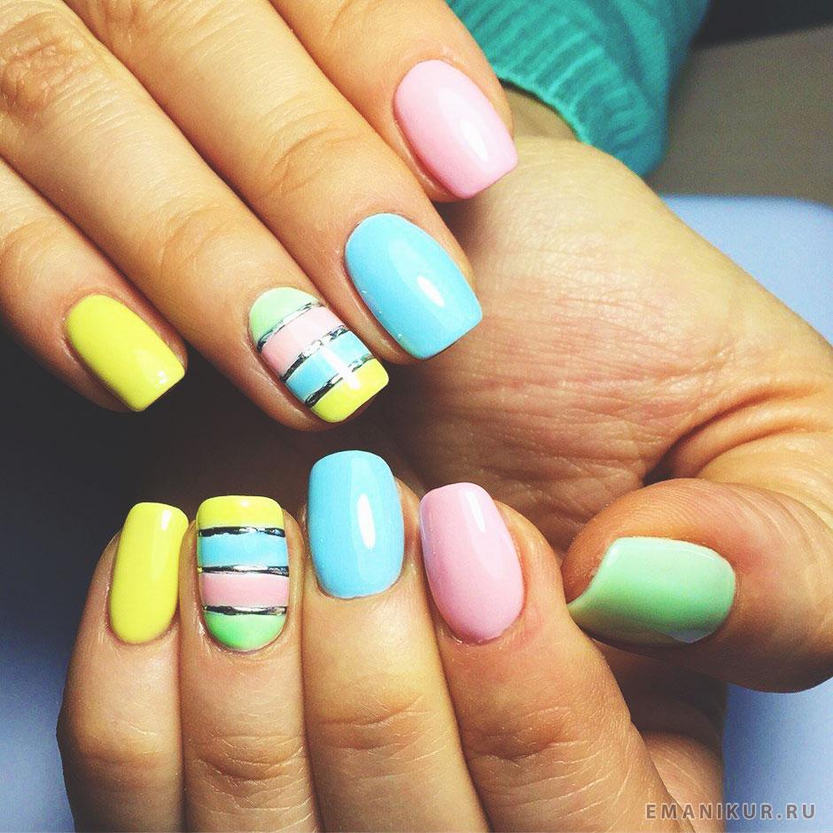 Маникюр на коротких ногтях яркий летний фото