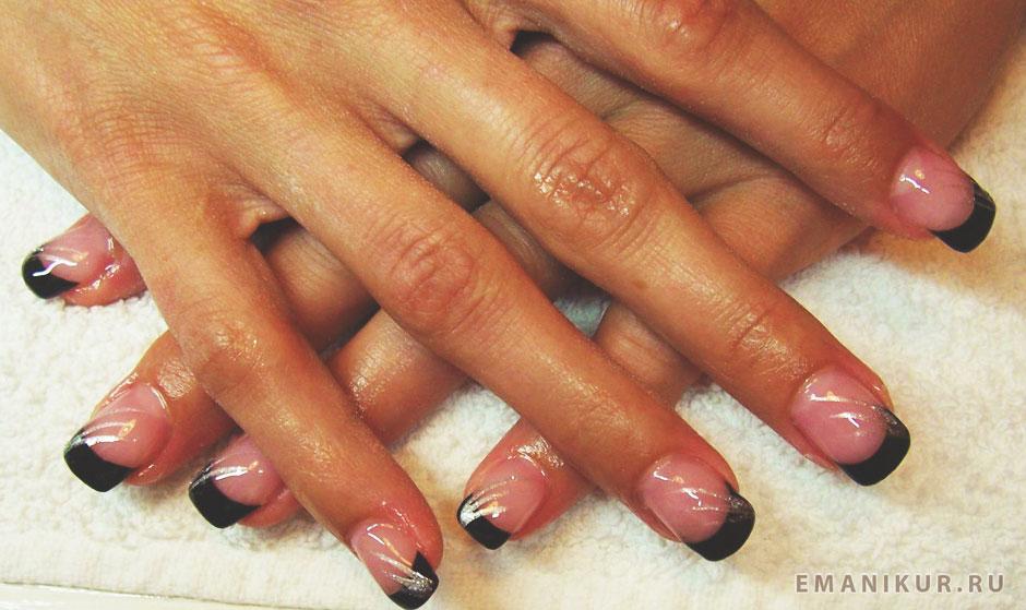Фото черно белого френча на короткие ногти